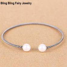 925 Sterling Silver Double Pearl Bangle Bracelet Retro Thai Silver Twisted Cuff Bangle, Free Shipping