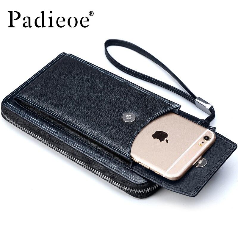 2017 New Fashion Mens Long Wallet Genuine Leather Clutch Handy Bag Wristlet Wallets Credit Card Holder Zipper Organizer<br><br>Aliexpress