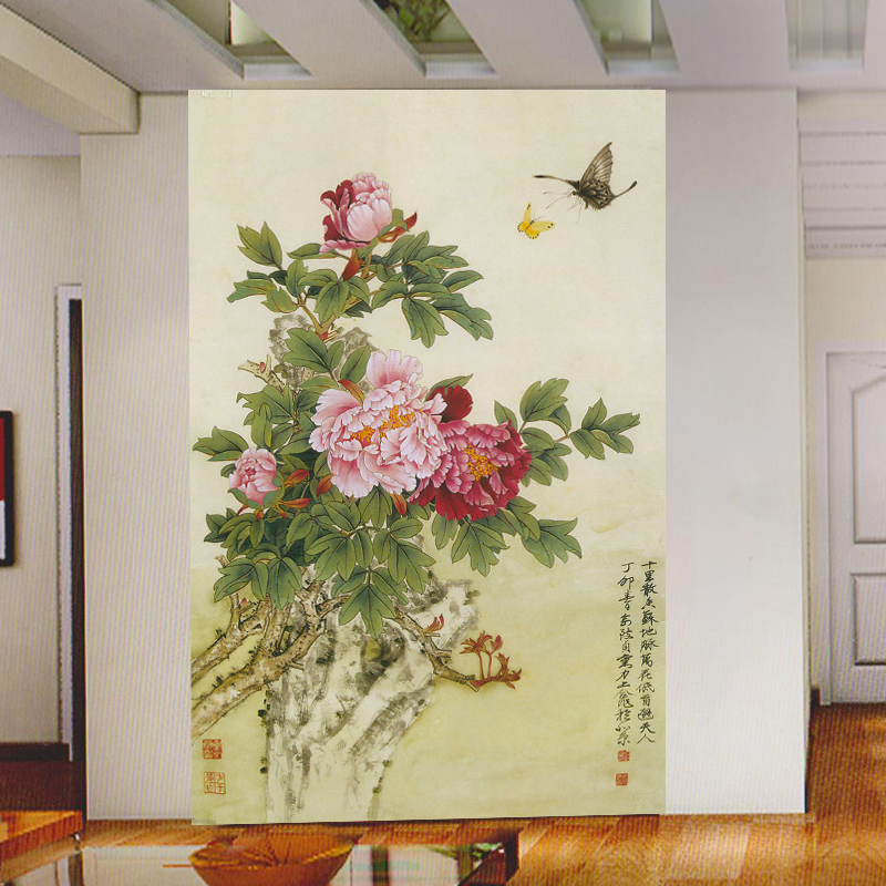 mural TV wall Background large mural Desktop Wallpaper porch butterfly peony Wallpaper g386<br><br>Aliexpress