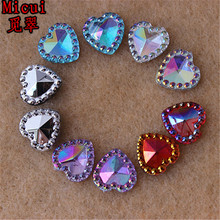 Micui 100PCS 12mm Mix Color Heart Acrylic Rhinestone Flatback Gems Strass Crystal Stones For Dress Crafts Decorations ZZ284