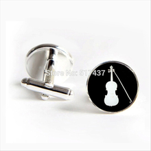 2017 Free Shipping Violin Cufflinks Black and White Silhouette Cuff link Orchestra Violin Cufflinks For Women