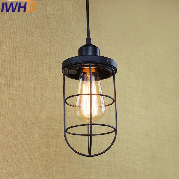 IWHD Loft Style Iron Lamparas Loft Vintage Industrial Lighting Pendant Lamp LED Black Kitchen Lamparas e27 220V For Decor<br>