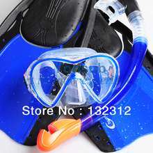 Scuba Diving Equipment Snorkel Set with Fins in Blue Black for Diving Surfing Swimming with Silicon Mask and Fully Dry Snorkel