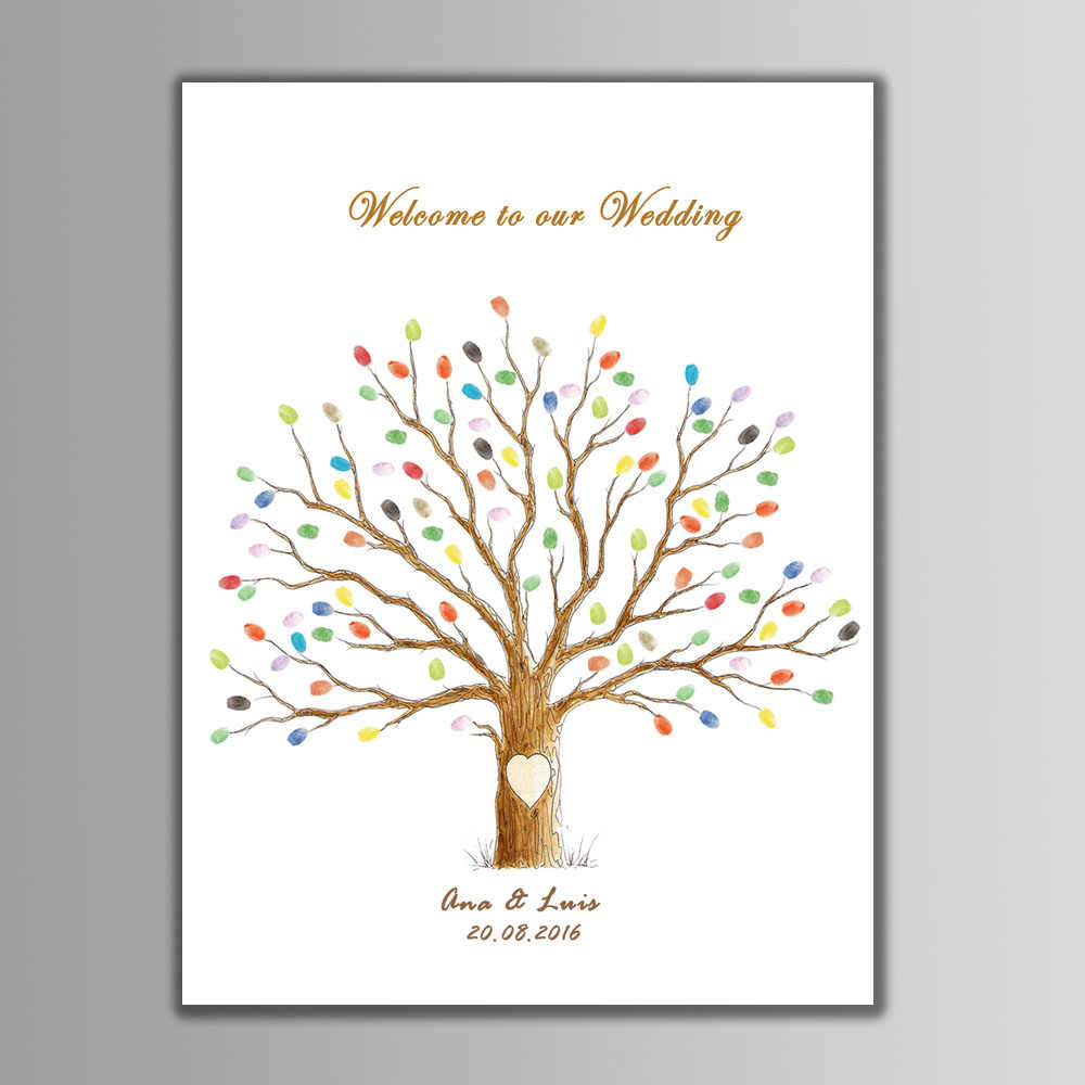 New Arrival DIY Wedding Guest Book Fingerprint Tree Printings With Ink Pad Decorative Canvas Painting Anniversary Party Decor