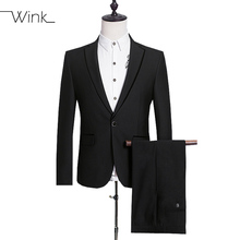 (Jacket + Pant) Wool Men's Formal Suits With Pants Coats Costume Homme Slim Fit Wedding Dress Suits For Men Classical Black E545
