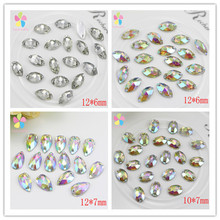 Clear Crystal AB Teardrop Flatback Sew On Rhinestones With Two Holes Garment Crystals DIY Sew-on Stones 50pcs/lot 003018026