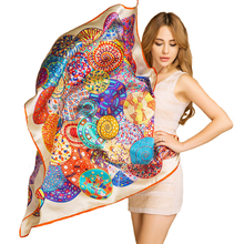 LESIDA 2017 New Fashion Luxury 100% Twill Silk Scarf Women Paisley Print Foulards Femme Bandana Large Square Shawls Woman 13109