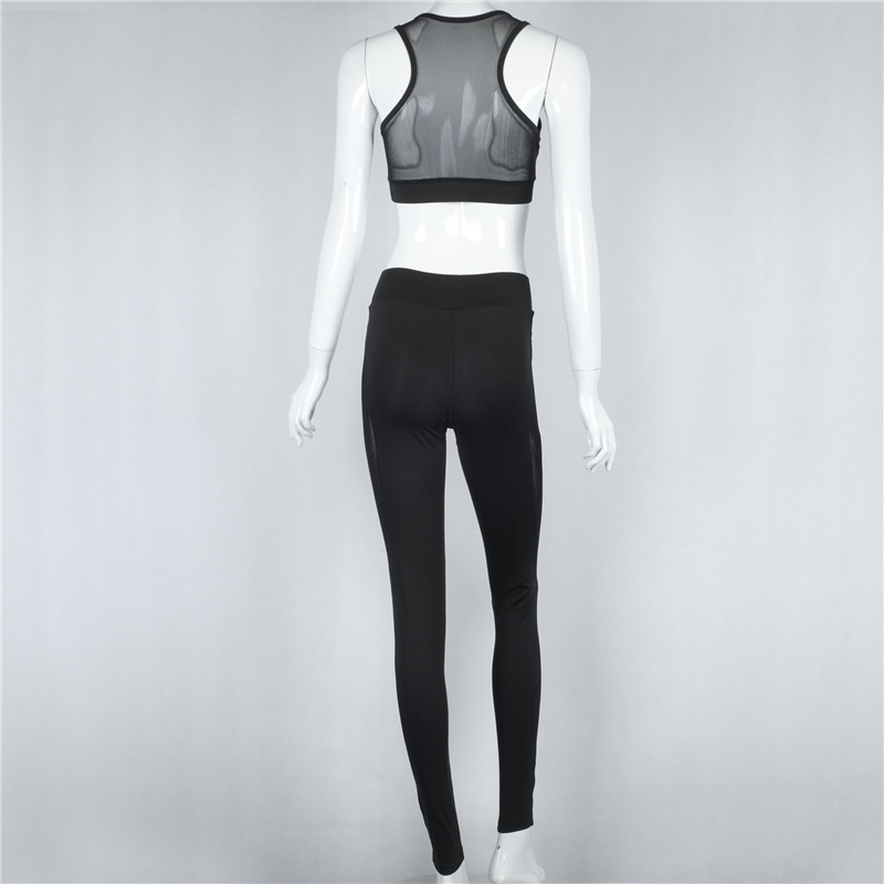 Black Net Yarn Patchwork Tracksuit Crop Top And Leggings 13