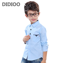Kids Blouses For Boys Clothes Cotton Dot Boys Shirts Full Sleeve Children School Uniforms Spring Formal Students Clothing 2-12Y(China)