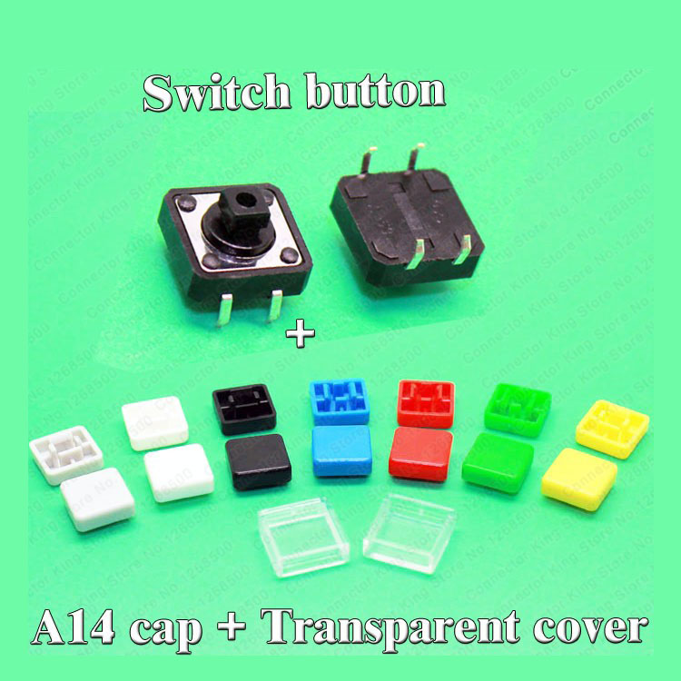 Sample 100 sets A14 Tactile Push Button Switch Cap with transparent cover + 12*12*7.3MM micro button switch for PCB<br><br>Aliexpress