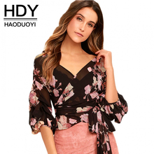 HDY Haoduoyi 2017 Floral Print Women Wrap Chiffon Blouses Shirt Tie Waist Peplum Crop Tops Lantern Sleeves Shirts Ladies Tops(China)