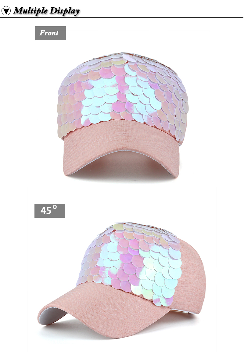 Sequin Snapback Cap - Front and Front Angle Views