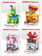 SD6050 SD6051 SD6052 SD6053 Mini Street Scenery Drinks Phone Shop Popcoin Manicure building block childrens Toys Gift compatible