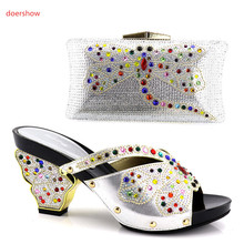 doershow Shoe and Bag Set Decorated with Rhinestone African Matching Shoe and Bag Italian In Women Bag and ShoesSet Italy!HV1-54(China)