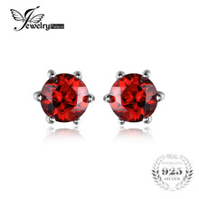 JewelryPalace VVS Red Round Gemstone Jewelry Natural Garnet Earrings Stud Genuine 925 Sterling Silver Jewelry 2016 Brand New