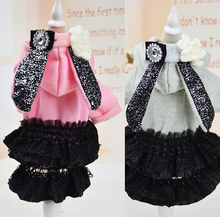 1pcs dogs cats Noble princess lace tutu costume doggy hoodies puppy fashion dresses pet dog sweaters clothing pets accessories(China)