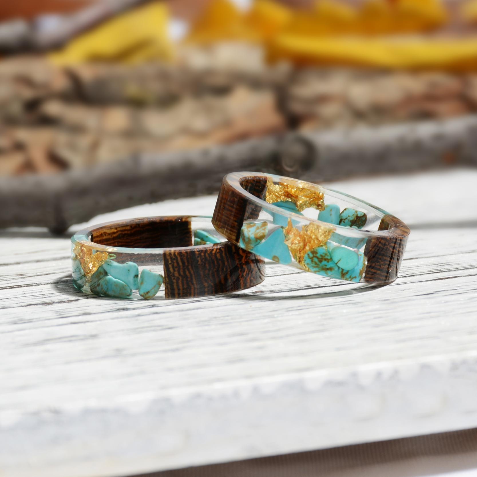 Clear Wood Resin Ring Handmade Dried Flower Hand Jewellery 23