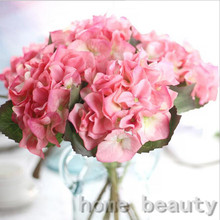 5pcs Hydrangea Silk Flower Artificial fake Flower Wedding Home Decor Festive Party Supplies Decorative Flowers FH253