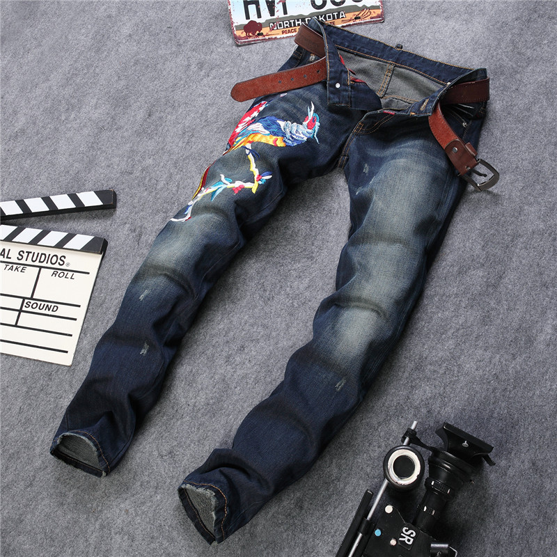 Hi-street Mens Motorcycle Jeans Size 31-38 100% Cotton Scratched Mens Denim Biker Jeans Ripped Denim Joggers For Men Robin JeansОдежда и ак�е��уары<br><br><br>Aliexpress