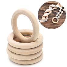 2017 DIY 5PCS Wooden Beads Connectors Circles Rings Beads Unfinished Natural Wood Lead-Free Beads 2CM-10CM cuentas de madera(China)