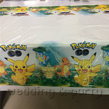 1pcs Pokemon theme party supplies disposable tablecloths birthday decoration baby shower children Pikachu 108x180cm(China)