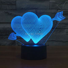 (4pcs/lot) 7 Color Changing The Arrow of Love 3D LED Night Light USB LED Decorative Cupid's Arrow Table Lamp Desk Lighting