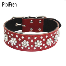 PipiFren Genuine leather Large Dogs Collars Rhinestone Accessories For Big Dog Necklace Pets Collars Supplies guinzaglio cane(China)