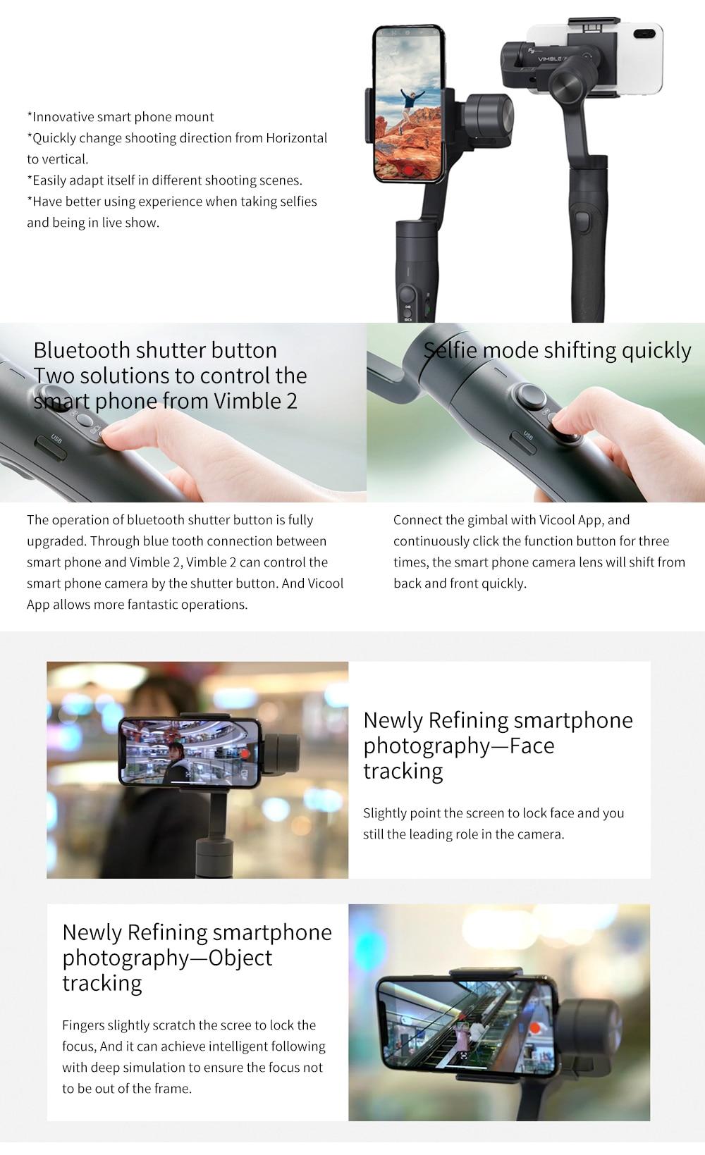 Feiyu vimble 2 Smartphone 3-Axis Handheld Gimbal Stabilizer bluetooth wireless selfie stick for iPhone X Gopro sjcam Smooth Q 3