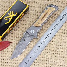 hot! Browning folding knife 440C Stainless Steel Damascus pattern Camping Hunting knife wood handle Rescue Tactical pocket knife