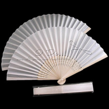 Free Shipping  Classic White Polyester Wedding Chinese Fan with Bamboo Handle/Summer Wedding Favor/Wedding Gift/Garden Supplies