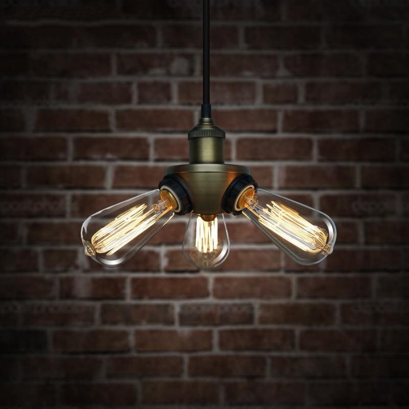 Pendant Lights Lamp Lighting American Industrial retro 3 heads iron bar table restaurant loft metal multi pendant lamp light<br>
