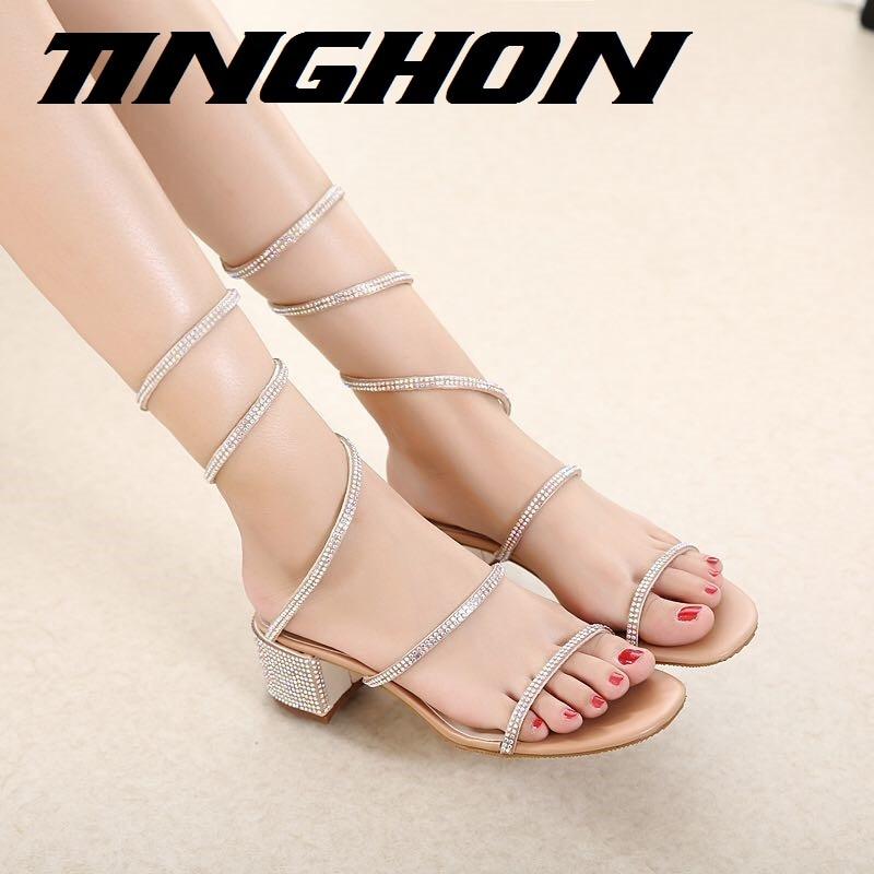 TINGHON Summer Luxurious gladiator sandals women Flat Sandals Snake Punk Rhinestone Thick Heel Women Sandals Wedding shoes<br>
