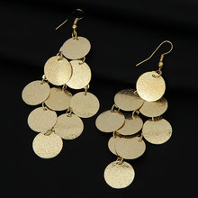 Shineland Women 2016 New Fashion Full Shiny Gold-color Long Round Leaf Long Tassel Chandelier Earrings Gold Silver Color Sale