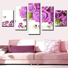 5 board picture purple rose of modern home decoration painting on the canvas print news photo wall art can be framework