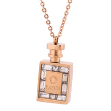 Fashion 316L Stainless Steel Jewelry luxury women Rose Gold Color Perfume Bottle necklace chain Lady CrystalJewelry