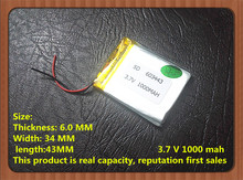 Polymer battery 603443 3.7V 1000MAH capacity, Bluetooth stereo batteries, battery manufacturers supply new