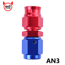 evil energy Tube To Female AN3 Adapter Swivel PTFE Teflon Hose End Fitting Straight Aluminum Hose End For PTFE Hose(China)