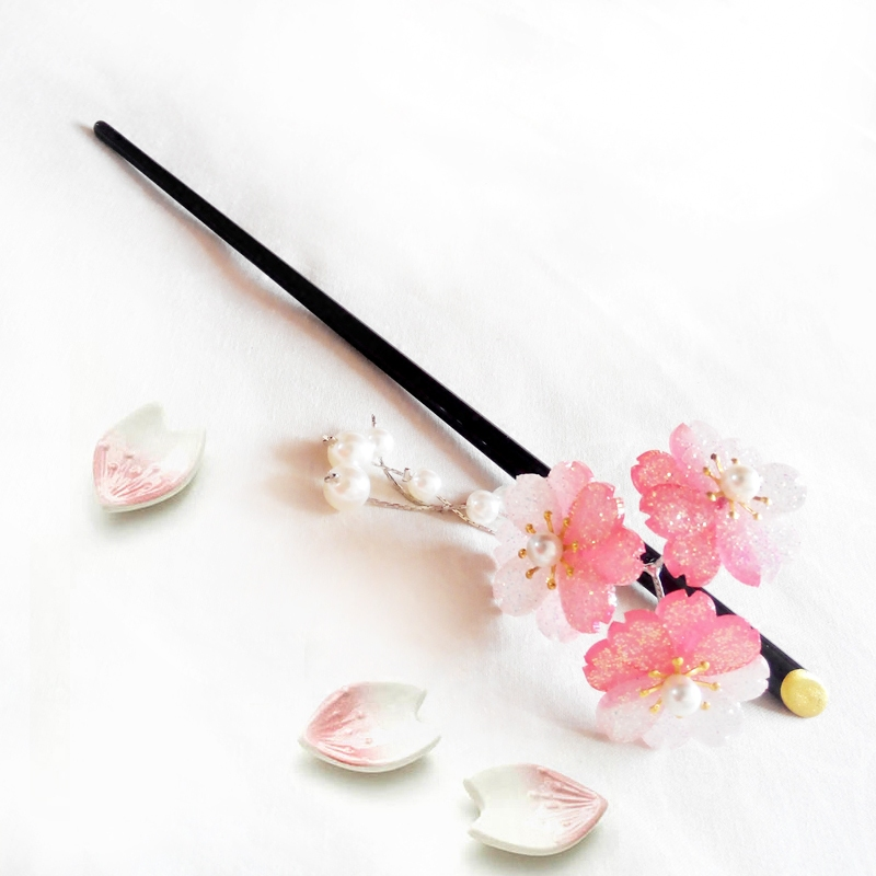 Japanese-style headwear and wind hair accessories cherry blossom hairpin ancient wind hairpin gradient tassel step hairpin