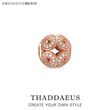 Beads Pink Wave,Rose Gold Color & Rhinestone Beads Fits Bracelet Thomas Jewelry Thanksgiving Gift For Women & Men