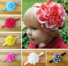 "50pcs 4"" hair accessories kids bows flower  girls headband lace fabric flowers with stretchy hair band african gele  SG8623"