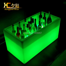 Big Volume LED Ice Bucket Plastic Wine holder Large Beer Cooler Whiskey Chiller For Bar Club Pub Resturant Hotel Wedding Party(China)