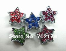 50pcs full rhinestone color ful star 8mm Star Slide Charms Fit Pet Dog Cat Tag Collar Wristband