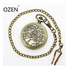 (1042) Vintage DW doctor who desgin Necklace Engraved Quartz Fob Pocket Watch, Chain pendant. size 47MM(China)