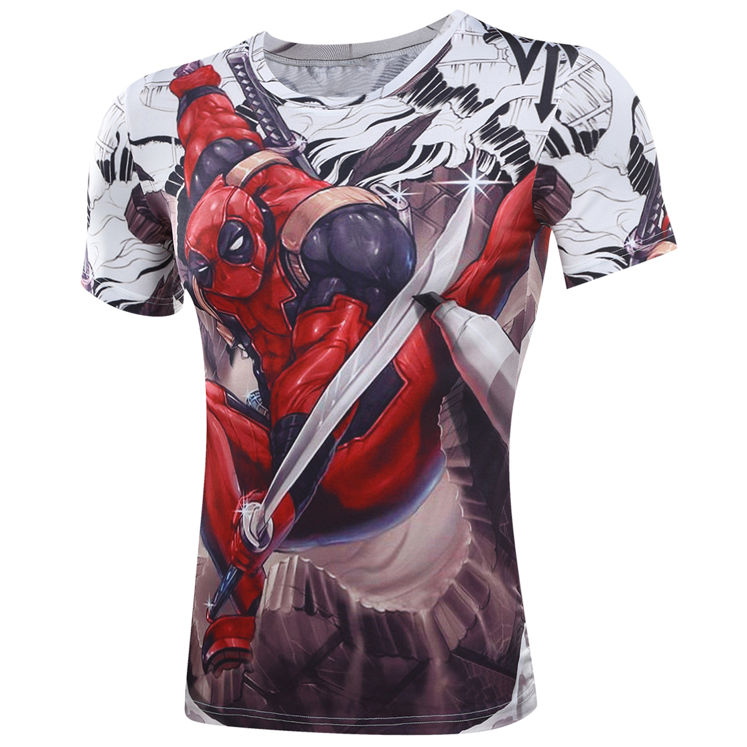 3d t shirt Badass Deadpool T-Shirt Marvel Superhero Superman Captain America Comic Fitness person Fitness Cartoon Characters(China (Mainland))