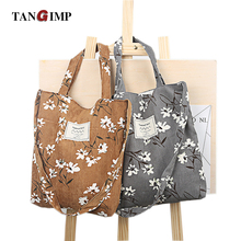 TANGIMP Corduroy Handbags Vintage Daffodils Floral Big Eco Ethnic Messenger Bags Women Shoulder Beach Shopping Bags Ladies Tote(China)