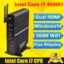 Fanless barebone mini pc windows 10 intel core i7 4500u haswell 1.8GHz mini computer nettop intel HD 4400 minipc 4G RAM linux i7(China)