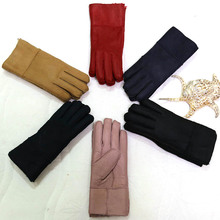 Mittens Women Winter Gloves Real Sheepskin Fur Warm Gloves Hot Elegant Ladies Full Finger Genuine Leather Gloves Mitts Guantes