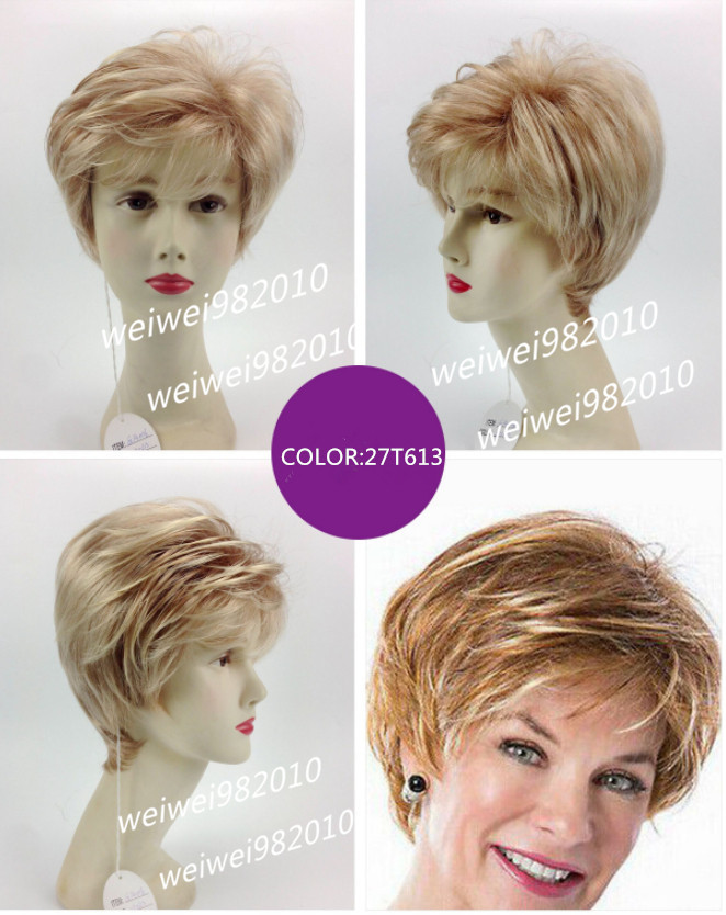 Synthetic short Light brown blonde  wig Soft wig  Free shipping<br><br>Aliexpress