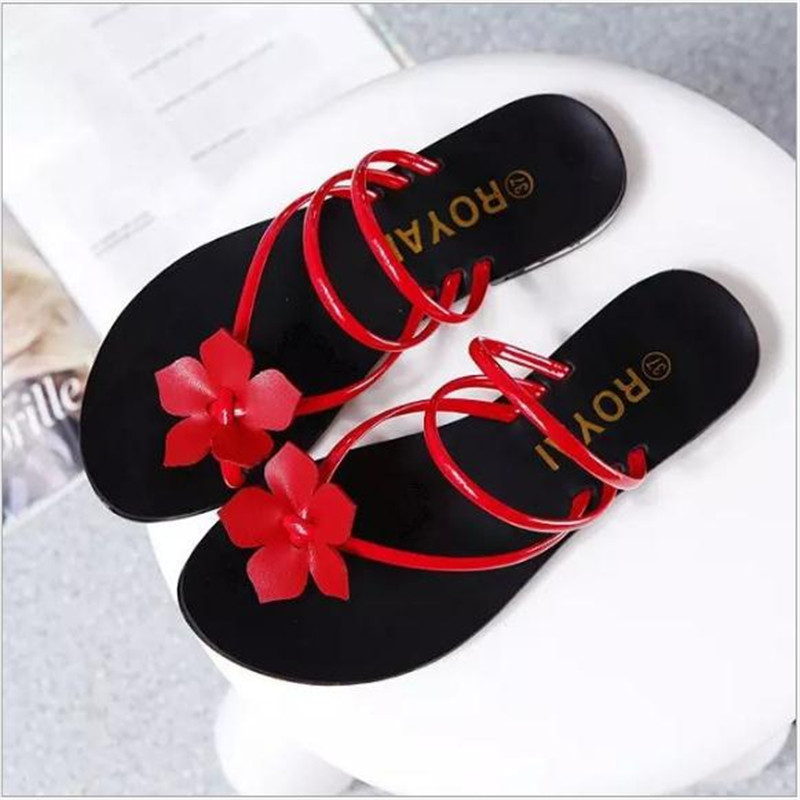 2017 summer ladys Bowtie flower flat sandals sexy casual fashion female beach flip flops women mesh grey black shoes home<br><br>Aliexpress