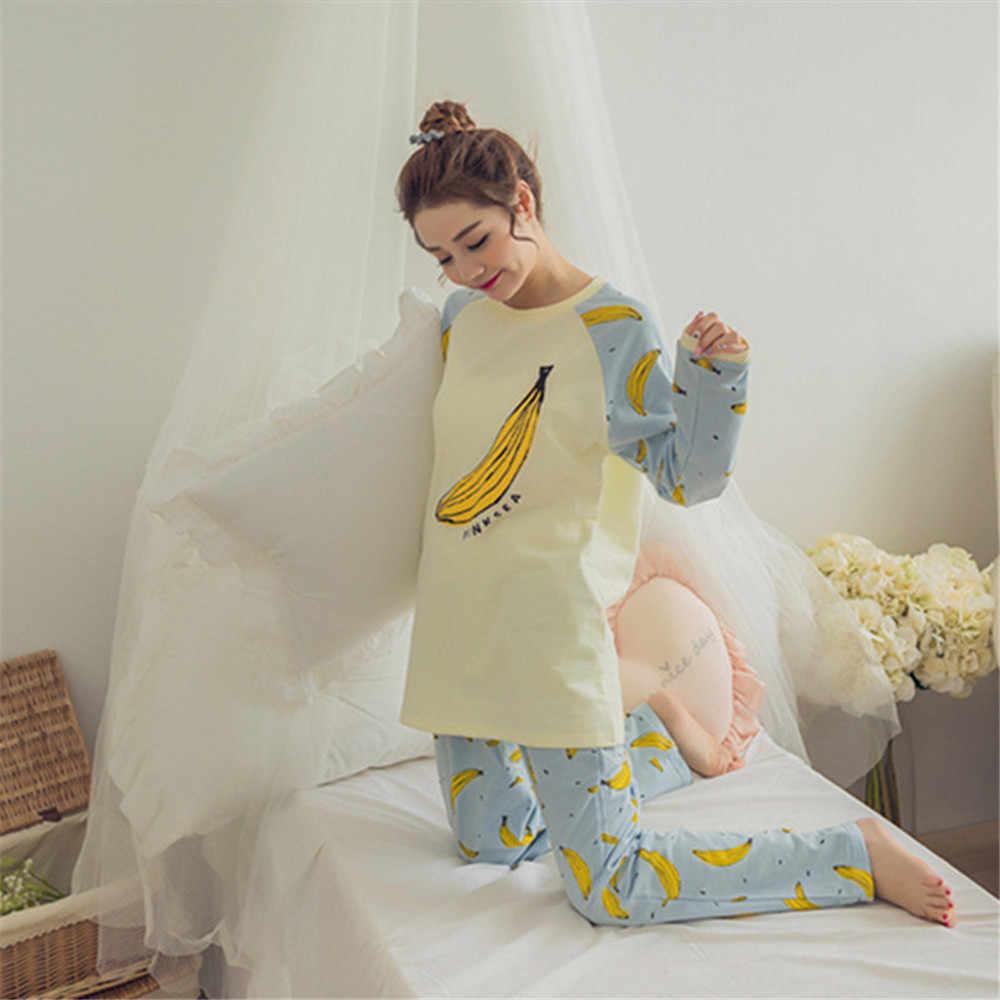 Осень пижамы Мода 2017 г. Для женщин с принтом банана Пижамные комплекты  Лидер продаж Повседневное 7945b4bebf139